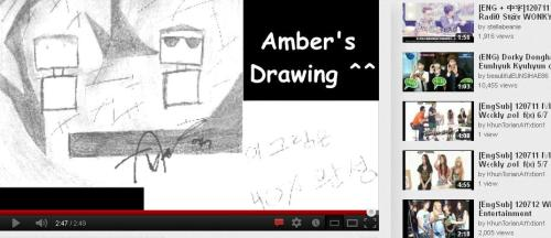 iminthetrancewithamberliu:  this is Amber's drawing from weekly idol. So cuteee…. Maybe she draws the MC