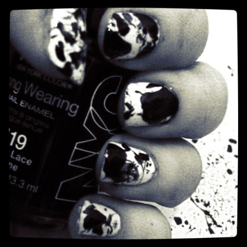 Gold leaf nails got junked so Inky it is! #notd #blackandwhite #ink #nailart  #nailpolish #nailaddict #splatter #dripping #black #white #monochrome (Taken with Instagram)