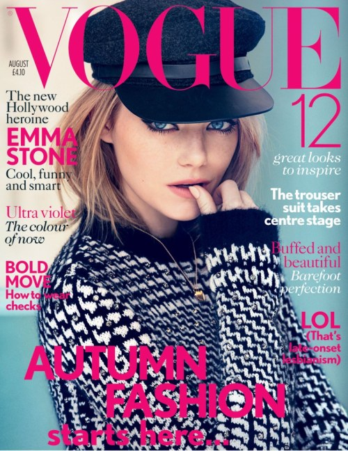 yourmothershouldknow:  Vogue Reino Unido Agosto 2012 Emma Stone por Patrick Demarchelier. Estilismo de Clare Richardson. ….. Vogue United Kingdom August 2012 Emma Stone by Patrick Demarchelier. Styling by Clare Richardson.