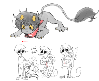 yummytomatoes:  I was feeling down so i drew some feral petkats