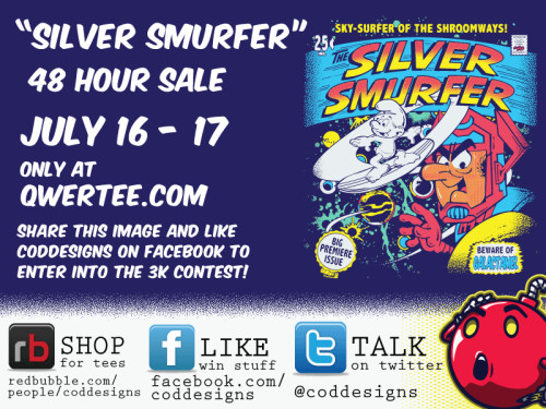 coddesigns:  Silver Smurfer is up on Qwertee for 2 days yay!! Share away and enter yourself into my Big Lebowski DVD prize contest!!