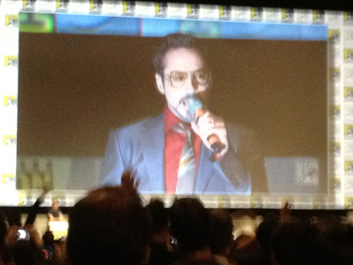 RDJ at Iron Man 3 panel. He danced in from the back of Hall H to Luther Vandross.