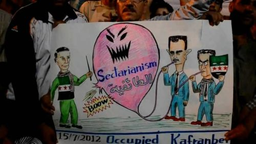 "From Kafranbel, Idleb (Syria) @HamaEcho: ""Assad and fake revolutionaries try to grow sectarianism, real revolutionary stops it."""