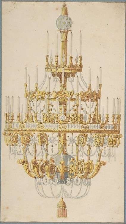 courtroyale:  Design for Chandelier Anonymous, French, 18th century  metropolitan museum
