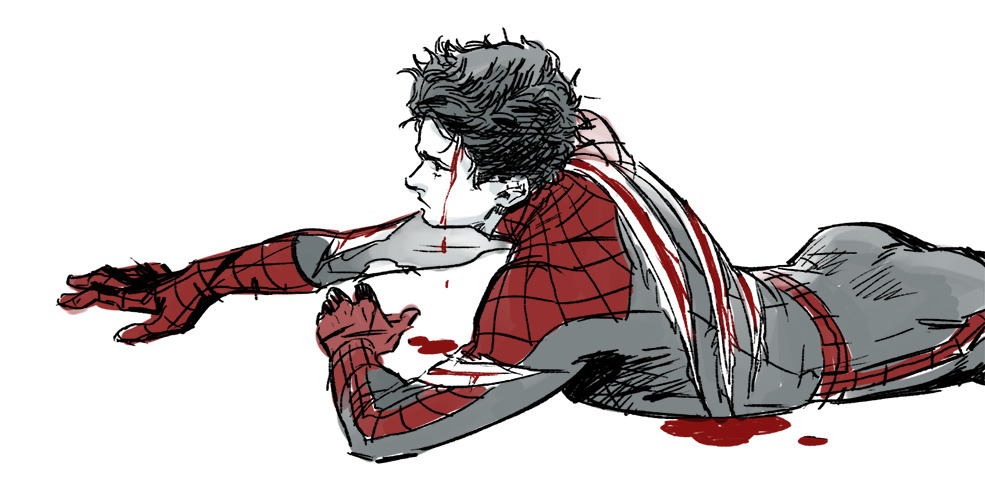 higogo:  fan art:)  whenever someone posts hurt/bleeding/crying spiderman art my soul grows a little warmer