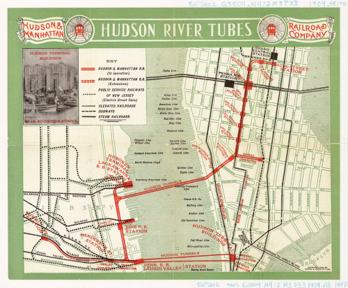 transitmaps:  Historical Map: Hudson River Tubes, 1909 Basically an advertisement for the newly-opened Hudson River Tubes - still in use by PATH trains today, over 100 years later - with the H&M lines proudly and boldly displayed in red. Planning for the future is also on display, making the service look somewhat bigger than it really was. From my limited research, it seems that the extensions shown in Manhattan were never actually built. The Hudson Terminal Buildings (shown in the photo inset at top left) were replaced by the World Trade Center complex as part of the deal struck to allow the Port Authority of New York and New Jersey to take over the operations of the H&M RR. (Source: Penn State Maps Library/Flickr)