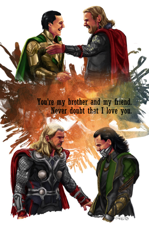 siquia:  A comparison of Thor and Loki's relationship then and now. Overflowing feels for how things have changed, but not the fact that bros ;_; oh my god I am so ready to say goodbye to this piece it fucking killed me quote from Thor deleted scenes that should never have been deleted jesus fuck