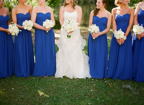 the-blushing-bride:  Blue bridesmaids