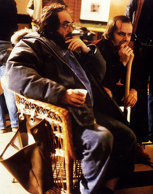 filmcrack:  Stanley Kubrick and Jack Nicholson on the set of The Shining (1980)