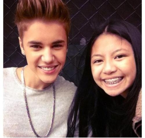 Justin and a fan in Melbourne, Australia.