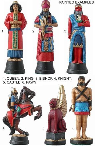 "A chess set that is Assyrian!! ""The Assyrian king is a depiction of Sennacherib, the eighth century king who sacked Babylon and attacked Judah, together with his queen. The bishops are represented by the Assyrian god Marduk, the lord of thunder and an important deity amongst this people.The Knight is an Assyrian mounted archer and the pawn an Assyrian light infantryman. The rook is a depiction of one of the great carved winged lions which guard various Assyrian royal buildings, principally at the great palace at Nineveh and which are important symbols of royalty."""
