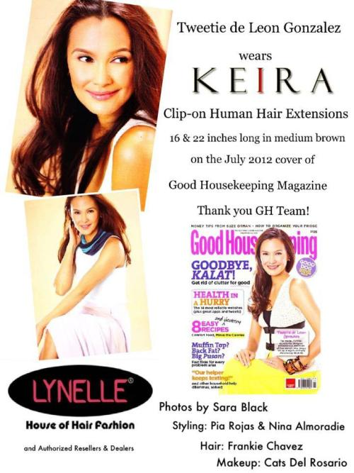 Tweety de Leon wears KEIRA Clip-on Extensions on the cover of Good Housekeeping Philippines July! Get a copy:) Thanks GH Team!