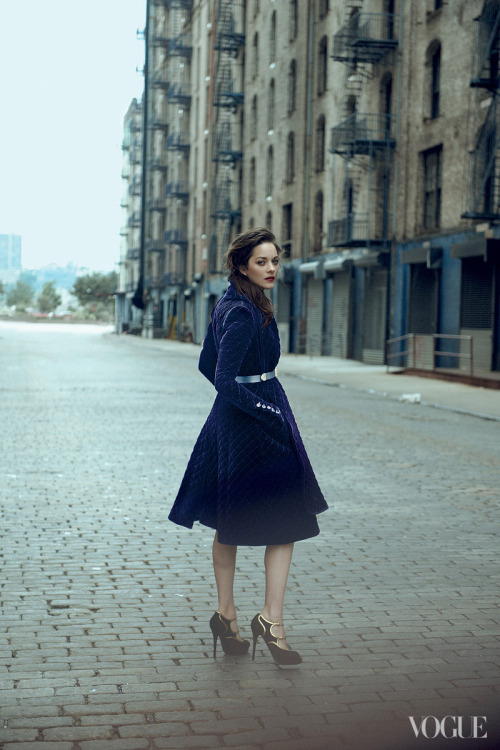 Marion Cotillard wearing a Burberry Prorsum quilted velvet coat in Vogue.