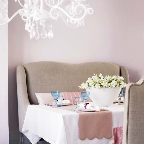 a delicate palette for a relaxing dining room which is somehow reminding a living