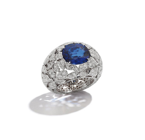 onemoretimewithfeelings:  POMELLATO ring in white gold, sapphire and diamonds composed of a 7.04 carat cushion faceted sapphire and 374 brilliant cut diamonds for a total of 2.98 carats, set in rhodium-plated 18 carat white gold.