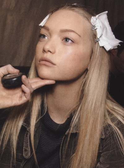 Gemma Ward backstage, Spring 2007
