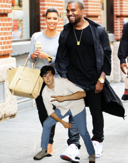 Ezra out on a stroll with Kanye and Kim