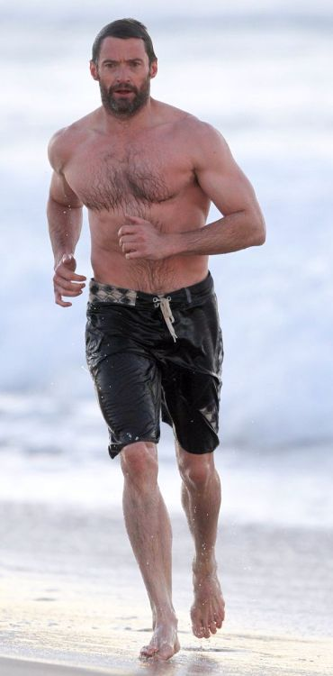 Hugh Jackman went for a swim today in Sydney, Australia.