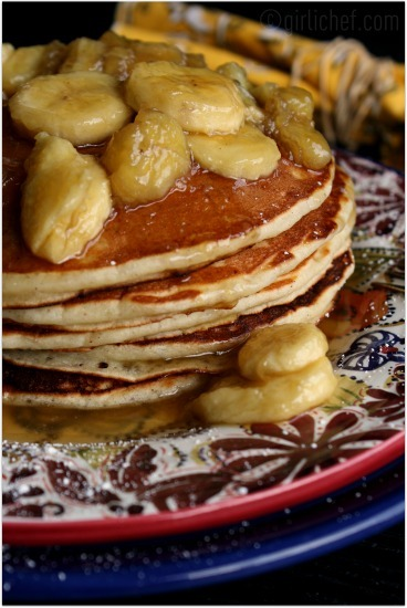 Banana Pancakes w/ Butter Rum Banana Maple Syrup by Girlichef, just one of many delicious from-scratch recipes in this week's Made with Love Mondays: Week of 7/16/2012