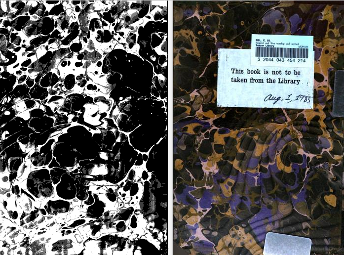 "Marbled paper in high contrast black and white, with color example on facing page. Contradicted library statement: ""This book is not to be taken from the library."" From the back matter of Serpent and Siva Worship and Mythology in Central America, Africa, and Asia: and, The Origin of Serpent Worship by Hyde Clarke and Charles Staniland Wake (1877). Original from Harvard University. Digitized January 4, 2008."