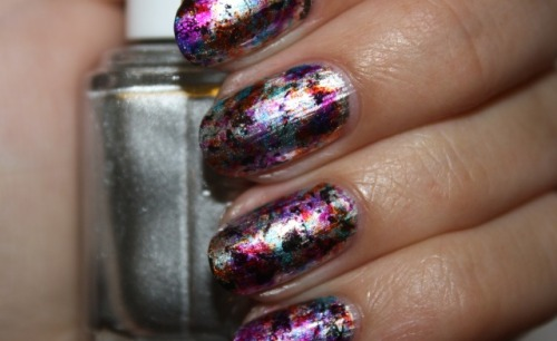 Splatter Saran nail art by Polish You Pretty! Click the photo to see the full tutorial!