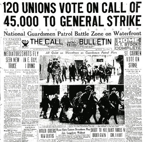 "todayinlaborhistory:  Today in labor history, July 16, 1934:  After the brutality of ""Bloody Thursday"" (see July 5), the Joint Marine Strike Committee calls for a general strike.  The San Francisco Labor Council voted to support the call and on July 16, the city shut down as workers from all industries walked off the job.  The four-day San Francisco General Strike ended with an agreement on arbitration in which most of the striking longshoremen's demands were met."