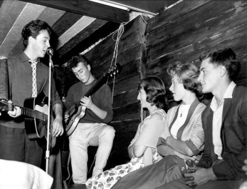 theniftyfifties:  Paul McCartney and John Lennon perform at the Casbah Coffee House as 'The Quarrymen', Liverpool, 1959.