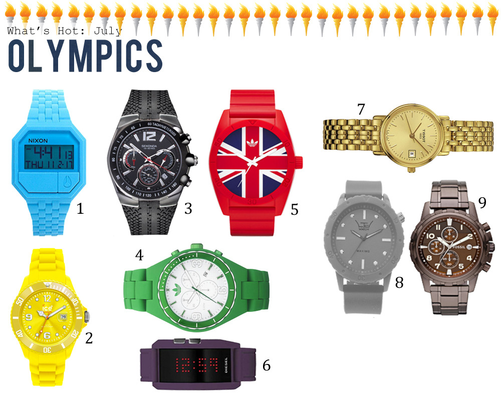 It's July and that time we've all been eagerly anticipating; The Olympics. With the games coming to London, you'll want to look your very best this summer with a range of sporty watches, sure to nab you that Swedish Beach Volleyball star or a handsome Australian Swimmer. So go on, show your true colours with this bright and bubbly range of watches. 1. Nixon Rubber Re-Run Unisex Watch £85 2. Ice-Watch Sili Forever Large Yellow Watch SI.YW.B.S £80.75 3. Sekonda SKN3039 Gents Watch £71.99 4. Adidas ADH2616 Unisex Watch £95 5. Adidas ADH9034 Unisex Watch £65 6. Diesel DZ7167 Unisex Watch £47.40 7. Tissot Desire T52528121 Ladies Watch £210 8. LTD 150801 Unisex Watch £65 9. Fossil FS4645 Gents Watch £100
