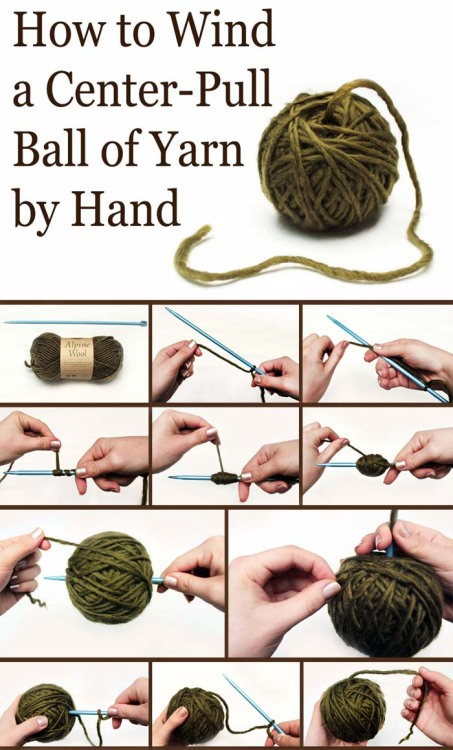 scitchetknits:  malgunia:  hooked-on-needles:  (via One Trick to Turn Any Yarn Into a Center-Pull Ball | Lion Brand Notebook)  Nice and useful trick:)  I haven't seen this particular one before, but I like it.