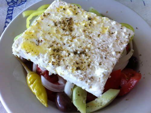 We enjoyed this traditional Greek salad topped with a delicious block of feta drizzled in olive oil while overlooking the Aegean Sea off the Greek island of Limnos. #Winning