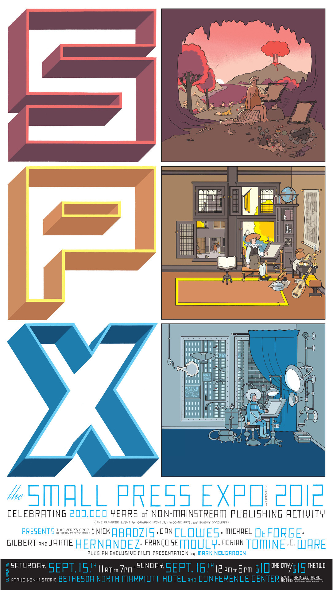 "drawnblog:  spx:  Chris Ware's beautiful poster art for the 2012 Small Press Expo. I have no words. The mega sized version lives here.  Chris Ware's breathtaking poster for this year's Small Press Expo. Just look at that lineup of names, and that's not even getting into the titular ""small press"" exhibitors, which the show is ostensibly about. And which number includes not one but three Drawnists."