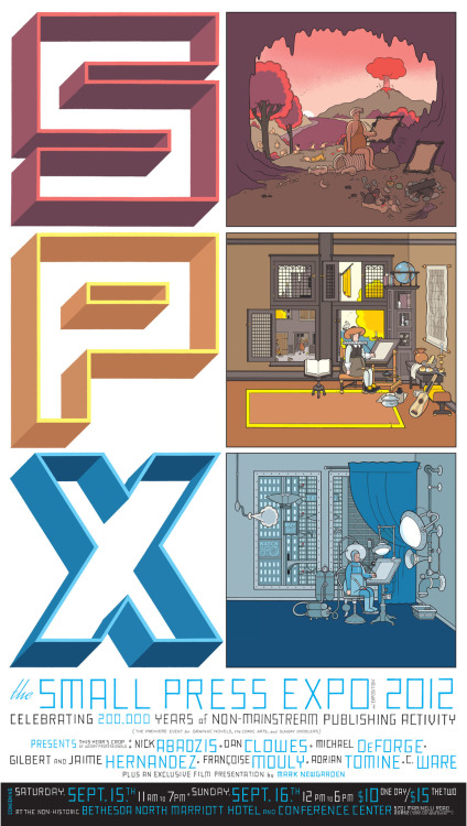 "spx:  Chris Ware's beautiful poster art for the 2012 Small Press Expo. I have no words. The mega sized version lives here.  Chris Ware's breathtaking poster for this year's Small Press Expo. Just look at that lineup of names, and that's not even getting into the titular ""small press"" exhibitors, which the show is ostensibly about. And which number includes not one but three Drawnists."