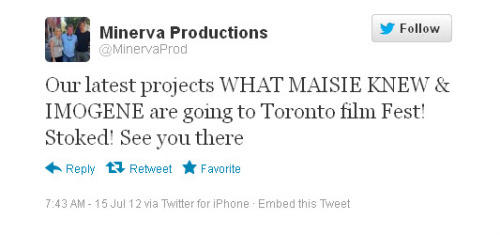 askarsswedishmeatballs:  This is from one of the producers of What Maisie Knew. TIFF is Sept 6-16th this year, so mark your calendars if you'll be around. :)