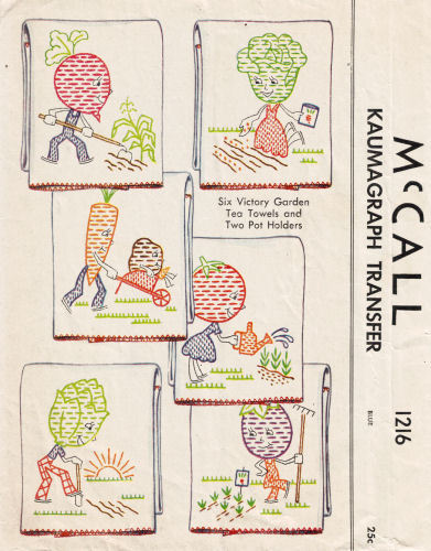 victory garden embroidery patterns from the 1940s, fun, right?  pattern from eStitches