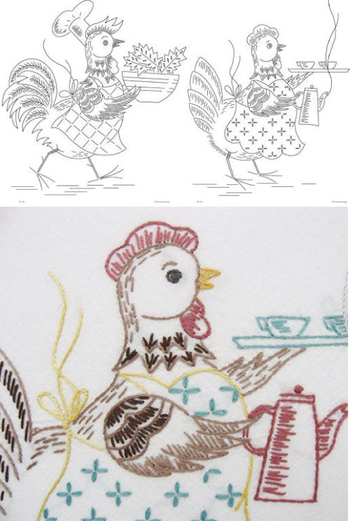 another vintage pattern this one from primrose. Chickens and roosters remind me of my grandmothers.