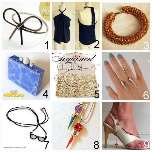 Roundup Nine DIY Jewelry, Accessories and Fashion Tutorials PART ONE. Roundup of this past week. July 8th - July 14th, 2012. *For past roundups go here: trebluemeandyou.tumblr.com/tagged/roundup  DIY Wire Wrapped Bow Ring (Bettina's Blog) here. DIY Tee Shirt to Halter Top Restyle (Wobisobi) here. DIY Chainmail Bracelet (How Did You Make This?) here. DIY Kate Spade Inspired Pool Water Clutch (Sprinkles in Springs) here.  DIY Floating Claw Ring (A Matter of Style) here. DIY Sequin Clutch (Style Me Pretty) here.  DIY Mini Shrink Plastic Glasses Pendant Template and Tutorial (The Zen of Making) here. DIY Inspiration to Use Unconventional Materials for Crafting (Mich L. in L.A.) here. DIY Alexander McQueen Inspired Sandals Tutorial (inspiration & realisation) here.