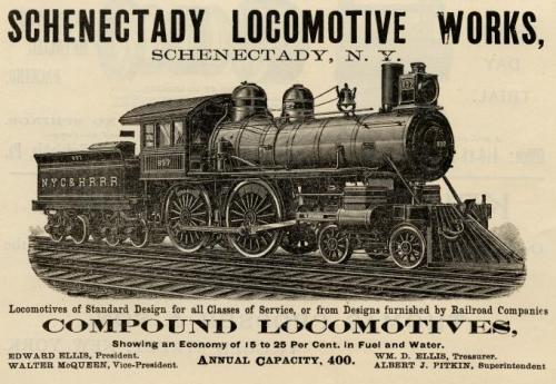 Advertisement for Schenectady Locomotive Works from 1893 issue of 'The American Engineer and Railroad Journal'. Wikimedia