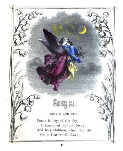 Child-painted plate. From Divine and Moral Songs for Children by Isaac Watts (1866). Original from Harvard University. Digitized February 17, 2006.