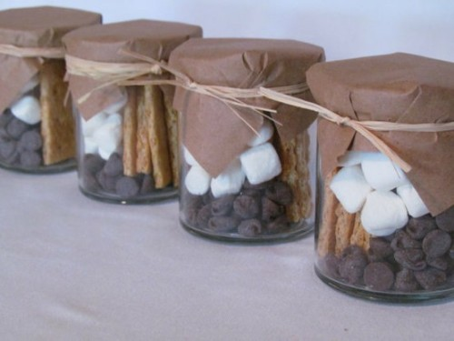 Smore making kits as party favors.