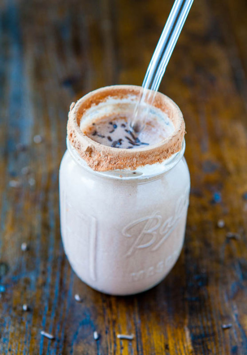 chocolate cake batter milkshake click here for recipe