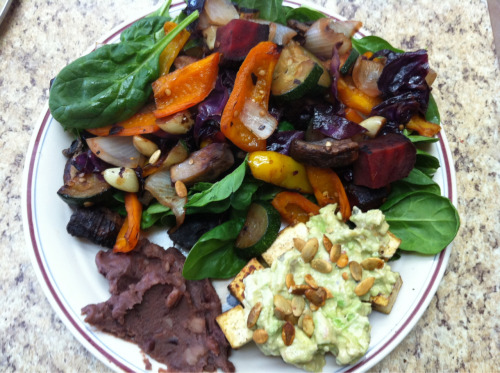 avtexadelphia:  saturday's lunch: roasted peppers + eggplant + beets + onions + zucchini + cabbage. organic vegan refried black beans. vegenaise avocado mash + organic sprouted tofu + organic spicy pumpkin seeds