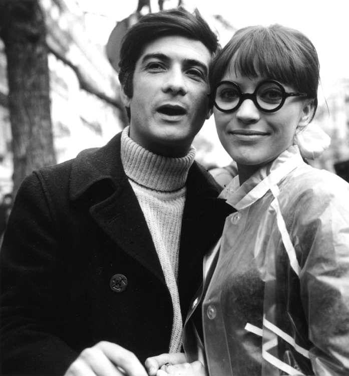On the set of Anna with Jean-Claude Brialy, 1967.