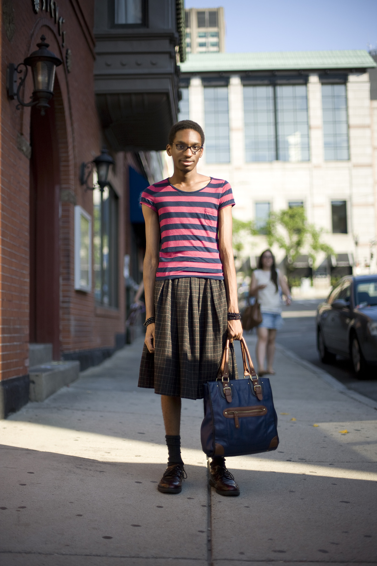 Self Described Style: EclecticOccupation: Journalism StudentFavorite Store in Boston: ZaraSpotted at: Newbury St. & Hereford St. I was first drawn in by the bag. Then when I took in the rest of the outfit I was so happy to see someone with such a unique look. From the loafers, to the skirt, to the bag he has chosen some interesting pieces and he isn't afraid to mix them together.