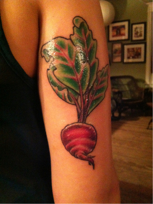 fuckyeahtattoos:  this is my beet tattoo done by Thom at Minds Eye Tattoo in Emmaus, Pa. My mom got the same one but on her back.  We got it because my grandma, her mom, loved beets and we wanted a piece for her. it's absolutely beautiful and Thom did an amazing job and I am looking forward to adding more vegetables to make this a sleeve.  he's done my back, foot, other arm, and ribs!