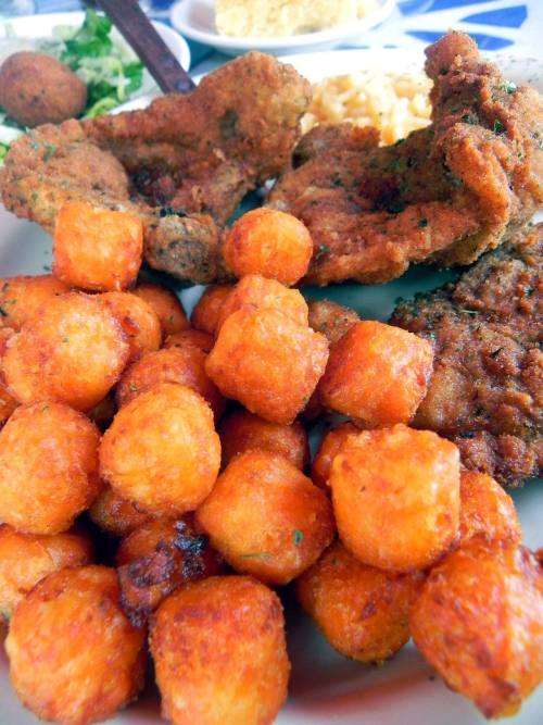Breaded and fried pork chops and sweet potato tots from Neyow's Creole Cafe