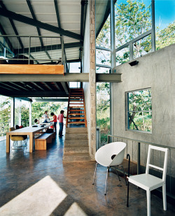 Indoor/outdoor living. Concrete home.