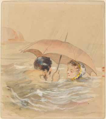 Alfred GrévinMale and Female Bathers with Umbrella,  Joseph F. McCrindle Collection2009.70.132 National Gallery of Art