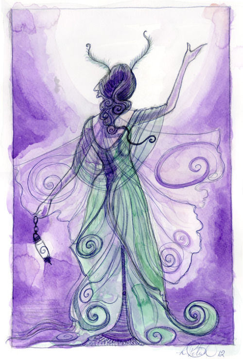 Luna Mothone of the sketches purchased during sketchfest, watercolor and pen on paper