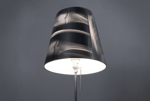 Sture Pallarp, 2008, X-Ray Lamp.  Lamp shade made from X-ray film. School assignment in collaboration with Elin Hedlund and Emmelie Karlström.  Source: Sture Pallarp via ReUseConnection.