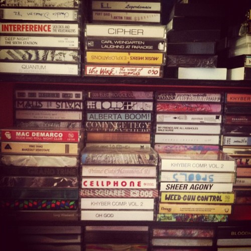 Wall of tapes @weirdcanada HQ (Taken with Instagram)